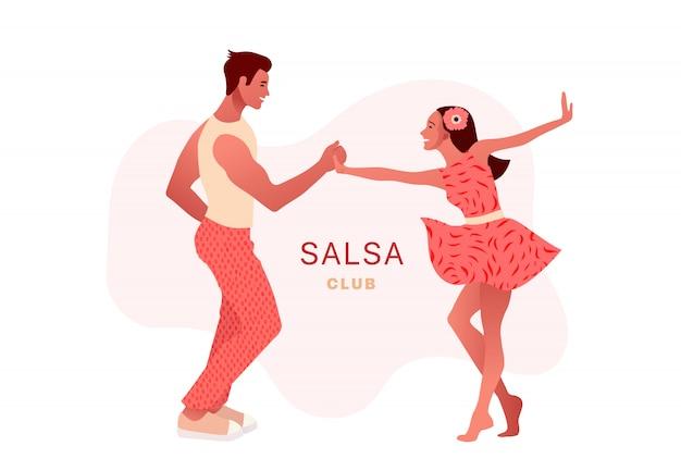 Сальса в городе. уличные танцы. красивая пара танцует. люди в любви.