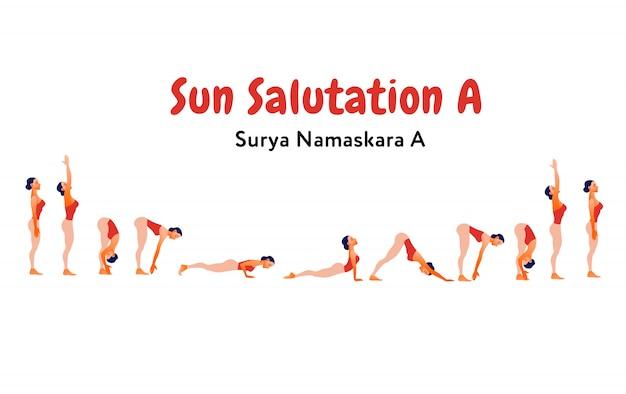 太陽礼拝(スリヤナマスカル)を練習している女性。ヨガスタジオのインフォグラフィックデザイン。国際ヨガの日