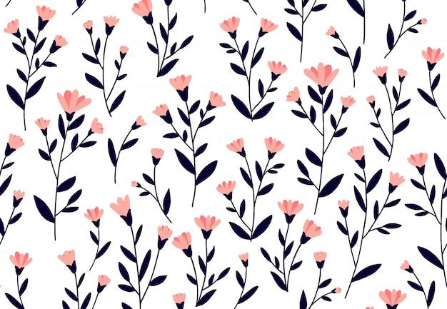 Цветочный узор. бесшовные векторные текстуры с цветами для модных принтов или обоев. рисованный стиль