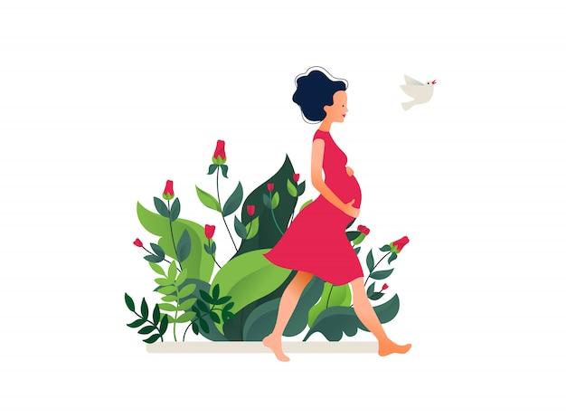 赤いドレスで幸せな美しい妊娠中の女性。アクティブなフィット感のある妊娠中の女性キャラクター。幸せな妊娠。フラット漫画