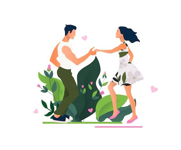 Сальса вечеринка красивая молодая пара танцует сальсу в городе. уличные танцы.