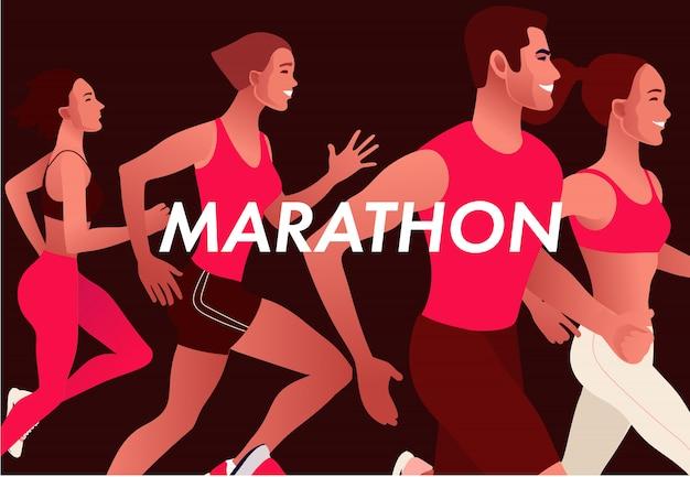 Бегут многонациональные люди в яркой спортивной одежде. мужчины и женщины бегут марафон