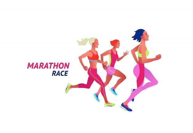 Бегут многонациональные люди. мужчины и женщины бегают или бегут марафон