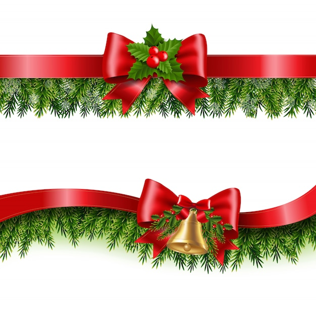 クリスマスの赤いリボンとモミの木