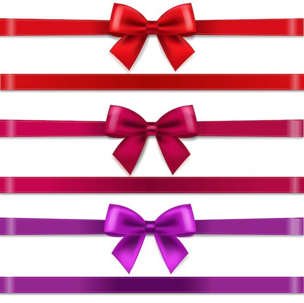 Набор красных и фиолетовых бантов