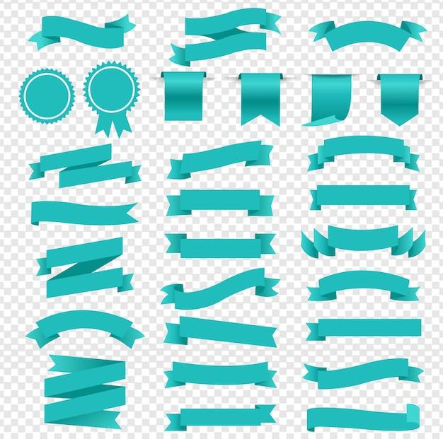青いレトロ紙白いリボンセット透明な背景