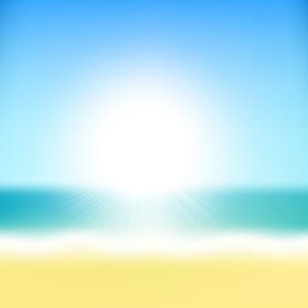 Пляж тропическое море с солнцем
