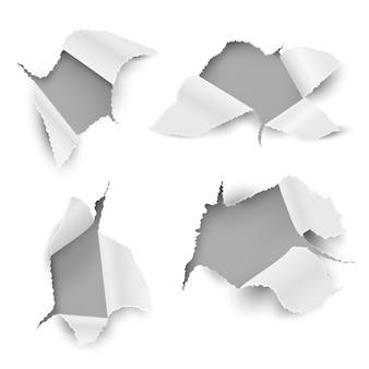 紙の穴。不規則な破れたシート現実的な破れたページステッカー弾丸穴カードリップエッジプロモーション。白いテキストメッセージホールセット