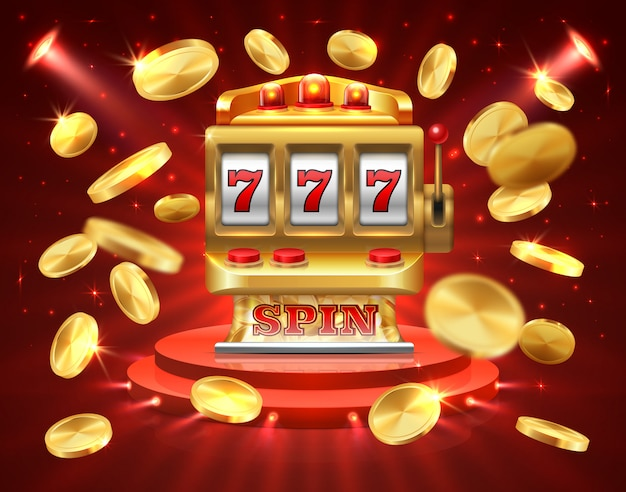 Игровой автомат реалистичный фон азартных игр. рулетка игровой автомат