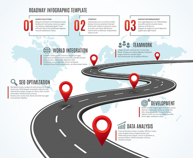 ビジネスロードマップ。マイルストーンのある戦略タイムライン、成功への道。ワークフロー、ルートインフォグラフィックの計画
