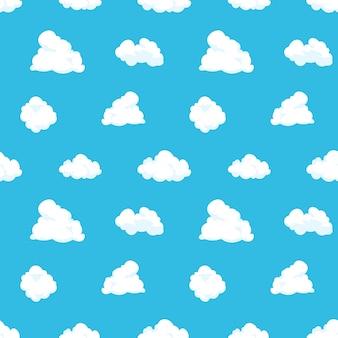 雲空のシームレスなパターン。漫画青い空気風景光夏の子供背景曇り春装飾。雲