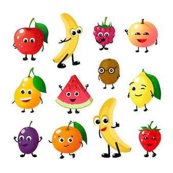 Мультфильм веселые фрукты. счастливый яблоко банан малина персик груша арбуз лимон клубника лица. фруктовая ягода персонажей