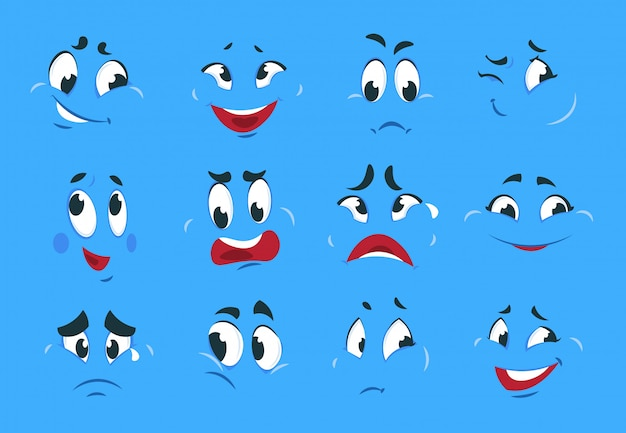 Смешные мультипликационные выражения. злые злые лица, сумасшедшие персонажи, зарисовки, веселая улыбка, комикс, карикатура, смайлик