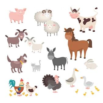 Набор животных фермы. изолированные дома животных свинья курица лошадь собака индейка кролик кот.