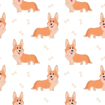 シームレスなコーギーパターン。漫画家のペット、印刷、ポスター、はがきのかわいい子犬のセット。コーギー動物の背景。面白い小さな犬のシームレスパターン
