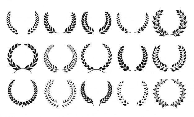 シルエットの月桂樹のリース。紋章のトロフィーの紋章、ギリシャとローマのオリーブの枝賞、勝者の丸いエンブレム。