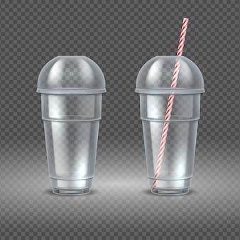 現実的なプラスチック製のコップ。ストロー、ウォータージュース、カクテルカップの透明なコーヒーコンテナー。処分容器セット