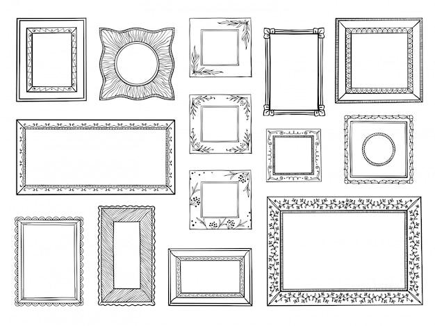 手描きのフレーム。正方形と円の境界、ヴィンテージの装飾的なスケッチの形を落書き。装飾用ボーダーセットを落書き