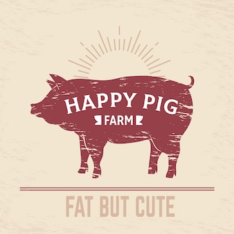 肉屋の豚のポスター。ビンテージバーベキューポークのロゴ、農場の動物のビンテージ肉屋のエンブレム、肉メニュー。ベーコン肉屋図