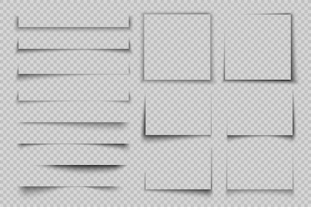 紙の影の効果。四角形の四角い影、リアルな透明ラベル要素