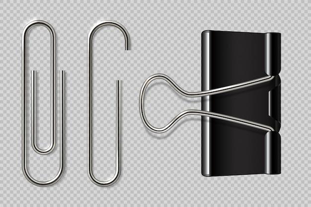 ペーパークリップ。現実的なバインダー、ペーパーホルダー、白い背景で隔離されたマクロ金属ノートブックファスナー。