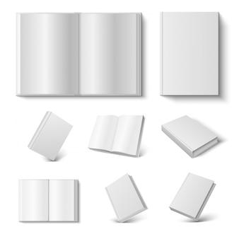 現実的な本。白の空白のハードカバーのオープンとクローズの日記