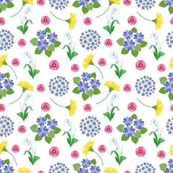 Цветочные бесшовные модели. весенние и летние садовые цветы ботанический романтический принт винтажная фактура