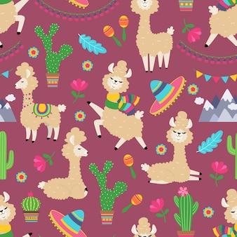 ラマのシームレスなパターン。アルパカの赤ちゃんとサボテンのガーリーなテキスタイルテクスチャ。