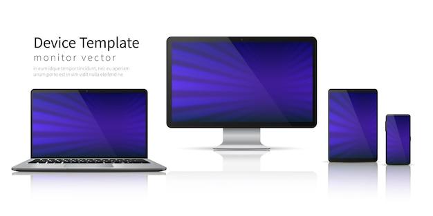 Реалистичные устройства. компьютер ноутбук планшетный телефон, смартфон экран мобильного гаджета дисплей. шаблон монитора устройства