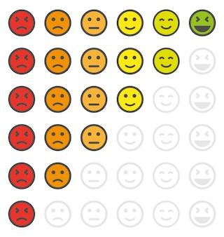 人々の評価は、怒りの顔と幸せな顔の感情の形で評価されます。フィードバックまたは満足度の評価。