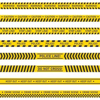 Большой набор опасности предупреждение бесшовные ленты на белом фоне.