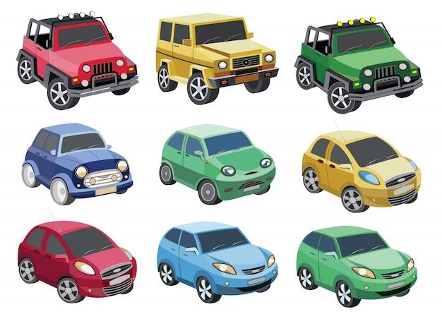 Набор иконок автомобилей, изолированных на белом (векторная иллюстрация)