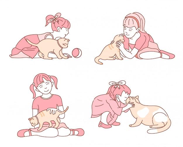Маленькая девочка заботится о своей кошке