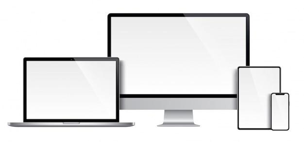 Реалистичный набор монитора, ноутбука, планшета, смартфона