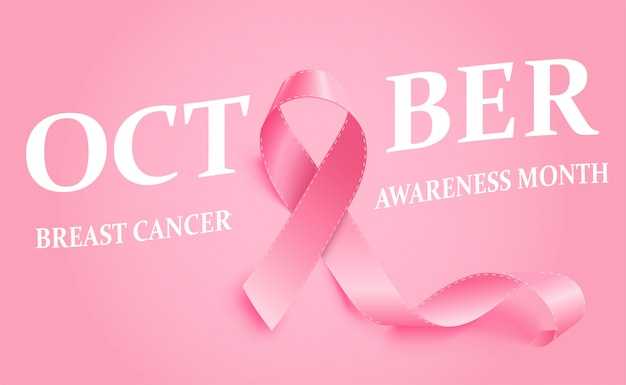 現実的なピンクのリボン乳がん啓発リボン