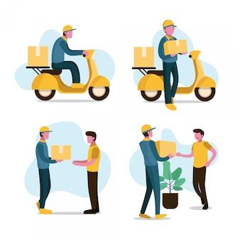 配達人はターコイズイエロートーンで顧客のフラットの図にパッケージボックスを送信します