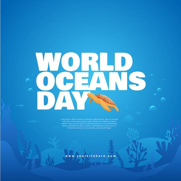 Шаблон поста в социальных сетях, посвященный всемирному дню океанов, с жирным названием и концепцией морских черепах