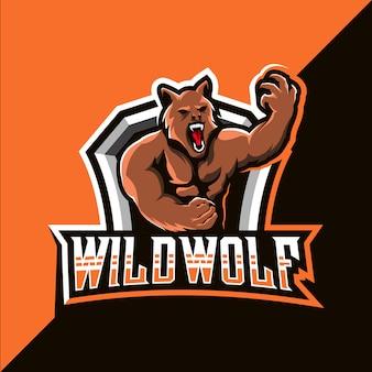 Дикий волк талисман кибер дизайн логотипа
