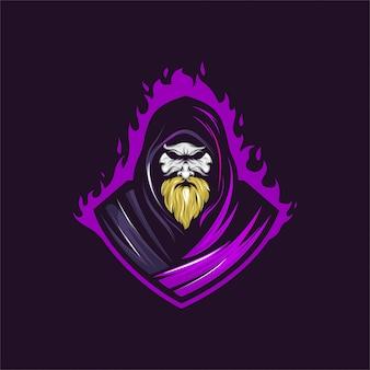 古い魔女のマスコットのロゴ