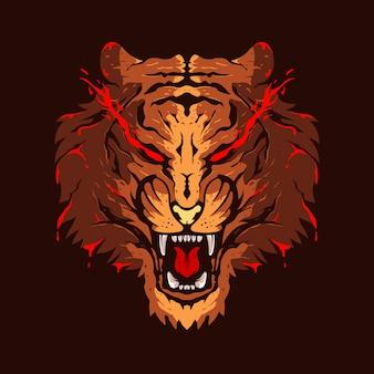 タイガーヘッドイラストカラーロゴデザイン
