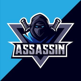 Ассасин с мечом талисман кибер дизайн логотипа