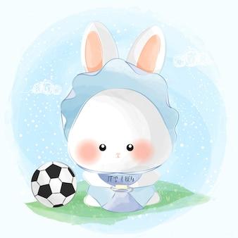 Милый маленький мальчик кролик