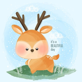 かわいい小さな鹿と美しい一日