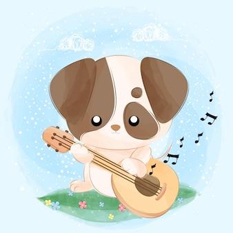 Милый маленький щенок играет на гитаре