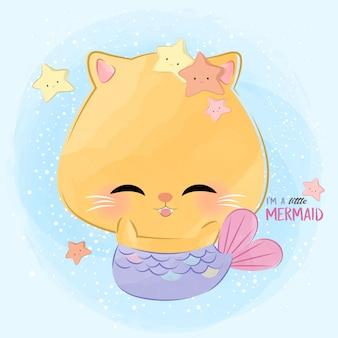 Милая маленькая кошка русалка
