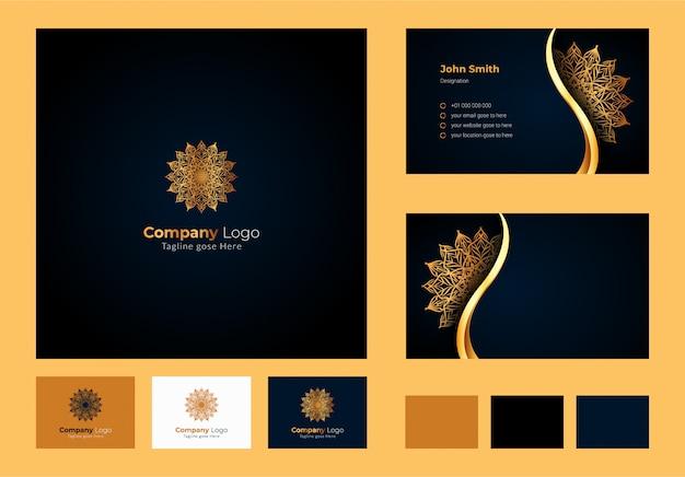 ロゴデザインのインスピレーション、豪華な円形の花のマンダラと葉の要素、装飾用のロゴが入った豪華な名刺デザイン