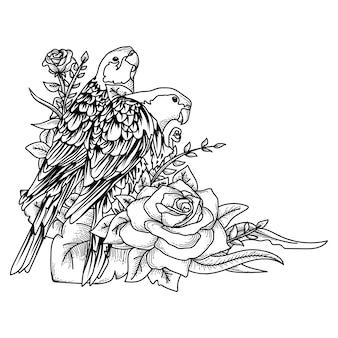 Работа иллюстрационная птица и роза рисованной премиум