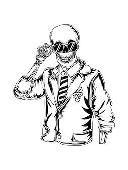 Тату и футболка дизайн деловой человек скелет премиум