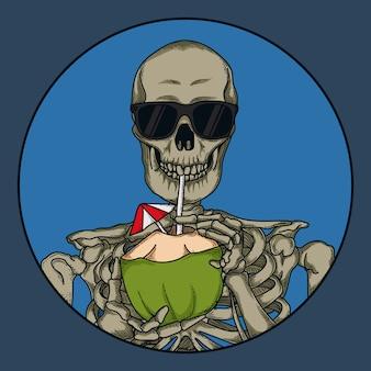 Иллюстрации и футболка дизайн череп пить кокосовая вода премиум