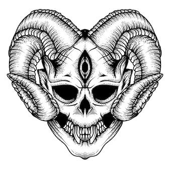Дизайн татуировки и футболка череп дьявола рисованной премиум вектор
